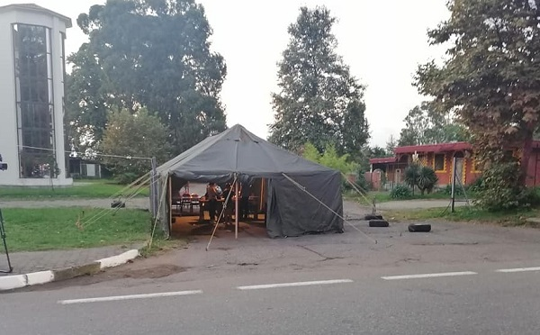 На въезде в Батуми поставили палатку для термоскрининга
